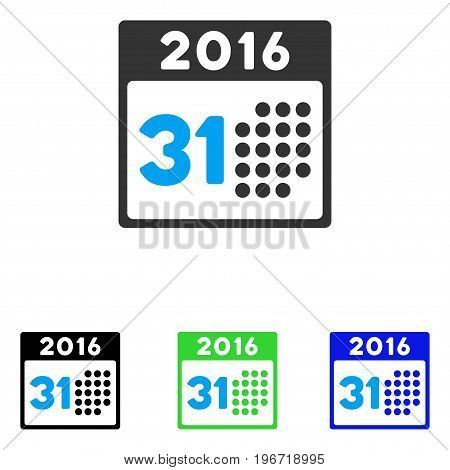 Last 2016 Month Day vector icon. Illustration style is a flat iconic colored symbol with different color versions.