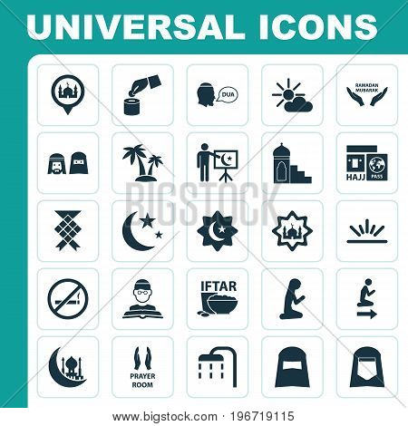 Ramadan Icons Set. Collection Of Hijab, Nacht, Masjid And Other Elements