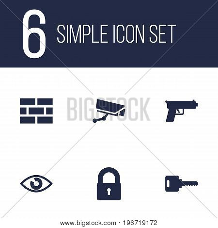 Collection Of Key, Look, Camera And Other Elements.  Set Of 6 Safety Icons Set.