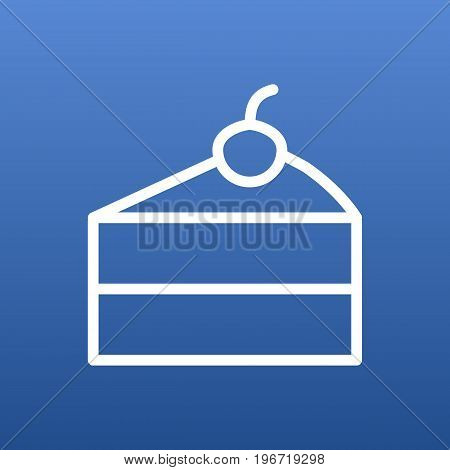 Vector Cheesecake Element In Trendy Style.  Isolated Sweetmeat Outline Symbol On Clean Background.