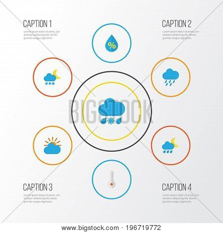 Weather Flat Icons Set. Collection Of Drizzles, Sunny, Drop And Other Elements