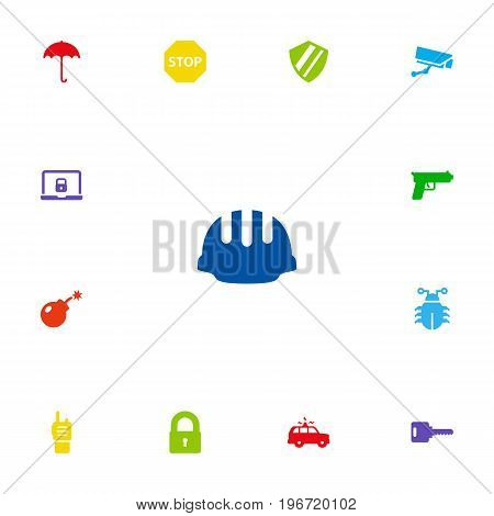 Collection Of Sign, Hardhat, Protection And Other Elements.  Set Of 13 Safety Icons Set.