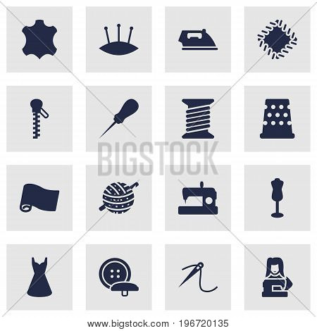 Collection Of Tailor, Clothier, Knitting And Other Elements.  Set Of 16 Sewing Icons Set.