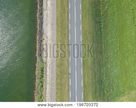 Aerial view of a Dutch dike road