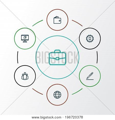 Business Outline Icons Set. Collection Of Wallet, Contract Signing, Briefcase And Other Elements