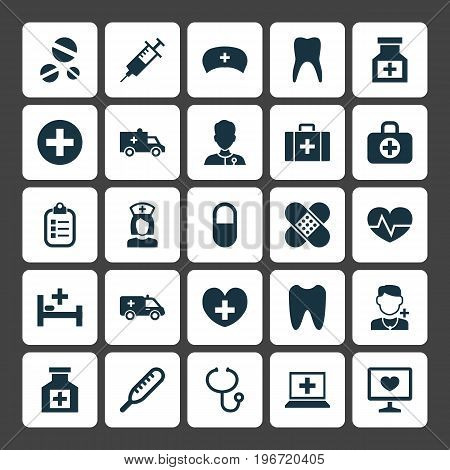 Antibiotic Icons Set. Collection Of Pellet , Bandage, Claw Elements