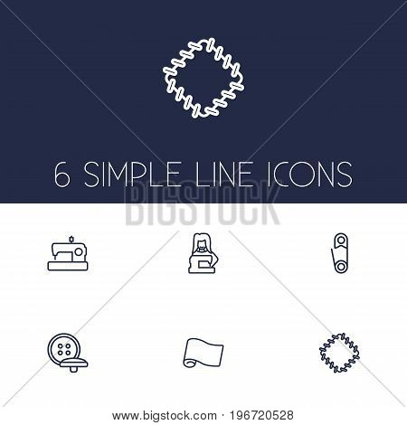 Collection Of Patch, Buttons, Fabric And Other Elements.  Set Of 6 Tailor Outline Icons Set.