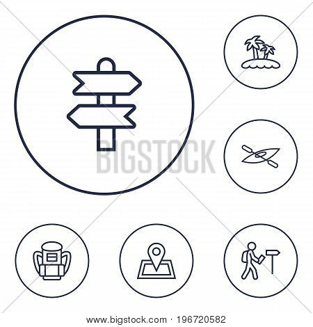 Collection Of Case, Direction, Pin And Other Elements.  Set Of 6 Travel Outline Icons Set.