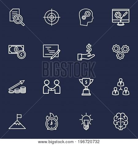 Collection Of Solution, Brain, Partnership And Other Elements.  Set Of 16 Idea Outline Icons Set.