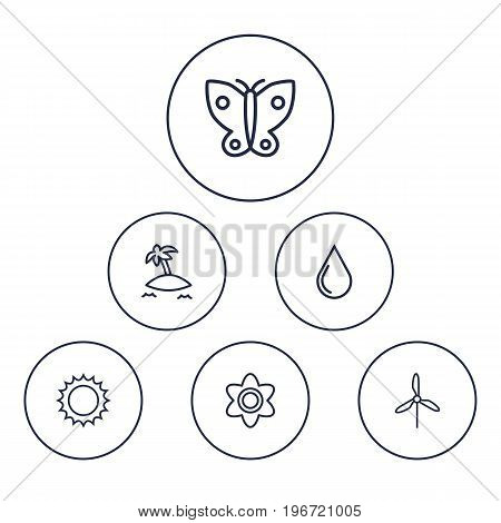 Collection Of Butterfly, Flower, Water Drop And Other Elements.  Set Of 6 Bio Outline Icons Set.