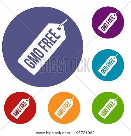 GMO free price tag icons set in flat circle red, blue and green color for web
