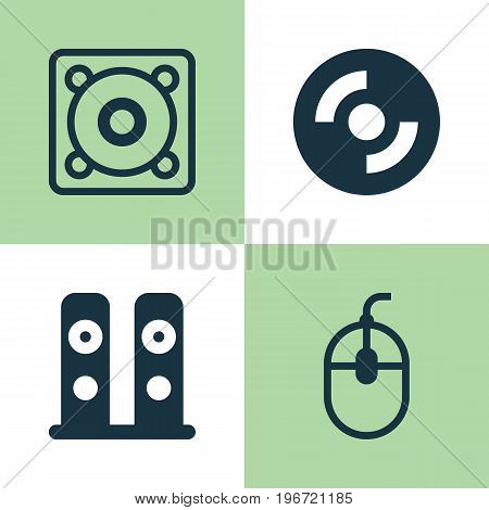 Hardware Icons Set. Collection Of Music, Control Device, Loudspeakers And Other Elements
