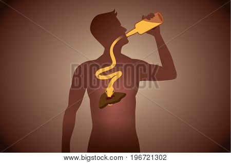 Snake out of alcohol bottle into body to attack liver while people drinking. Illustration about health care.