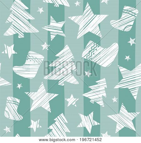 Christmas background, sock, star, tree, seamless, gray-green, vector. White Christmas trees, socks and stars are drawn with a diagonal bar on a gray-green striped background.
