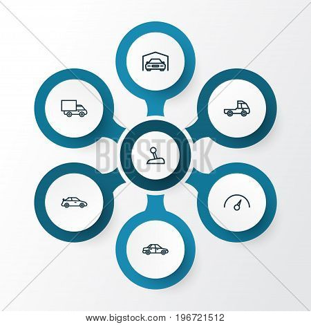 Automobile Outline Icons Set. Collection Of Chronometer, Lorry, Truck And Other Elements