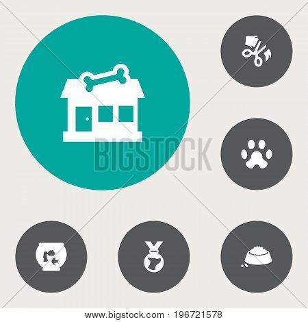 Collection Of Footprint, Medallion, Fishbowl And Other Elements.  Set Of 6 Mammal Icons Set.