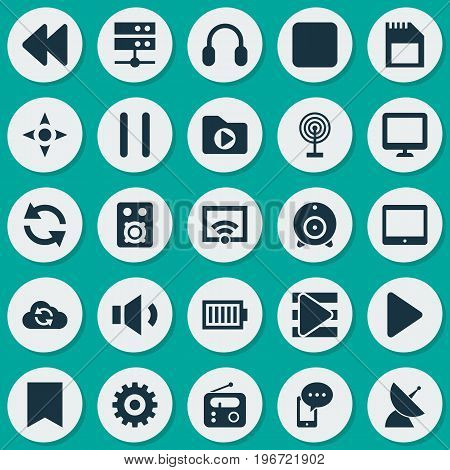 Media Icons Set. Collection Of Cloud, Cast, Mobile Content And Other Elements