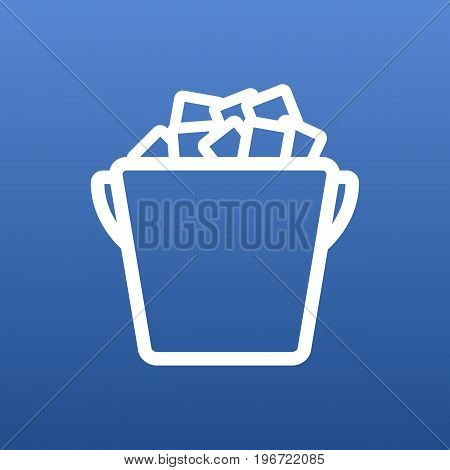 Vector Ice Bucket Element In Trendy Style.  Isolated Fridge Outline Symbol On Clean Background.