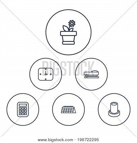 Collection Of Flowerpot, Staple, Calendar And Other Elements.  Set Of 6 Bureau Outline Icons Set.
