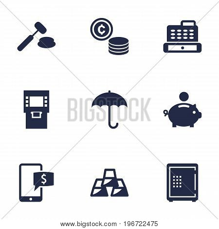 Collection Of Online Banking, Umbrella, Piggy Bank And Other Elements.  Set Of 9 Budget Icons Set.