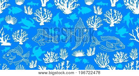 Seamless vector border with Polynesian motifs. Corals, fishes and tortillas on turquoise background. Beach textile collection.