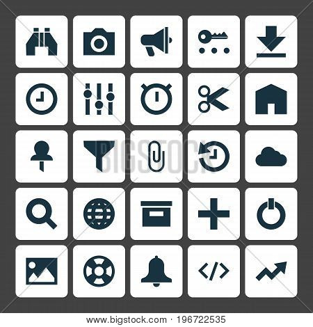 User Icons Set. Collection Of Pushpin, Button, Photo And Other Elements