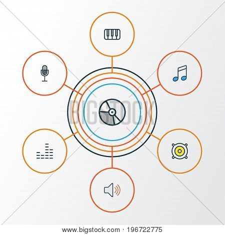 Music Colorful Outline Icons Set. Collection Of Keys, Circle, Sound And Other Elements