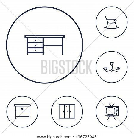 Collection Of Moving Chair, Nightstand, Tv Set Elements.  Set Of 6 Decor Outline Icons Set.