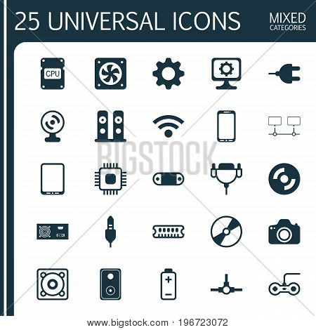 Hardware Icons Set. Collection Of Chip, Cellphone, Wireless And Other Elements