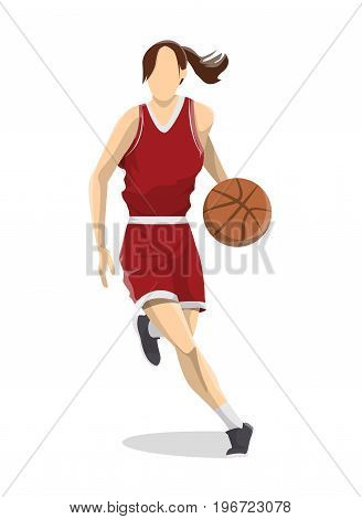 Woman plays basketball. Isolated caucasian character on white background.