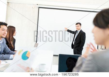 Businessman having presentation in office