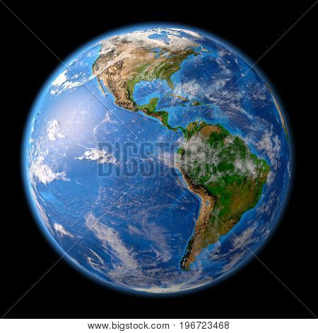 Planet earth. High detailed satellite view of the Earth and its landforms focused on the American continent. 3D illustration elements of this image furnished by NASA.