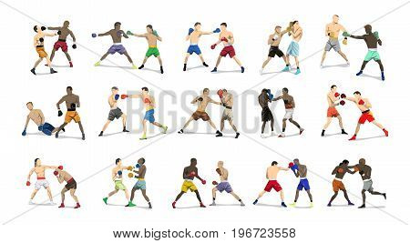 Boxing pairs set. Set of boxers in outfit with gloves in sport poses on white background.