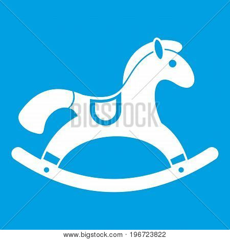 Rocking horse icon white isolated on blue background vector illustration
