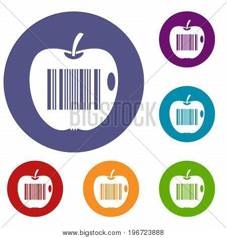 Code to represent product identification icons set in flat circle red, blue and green color for web