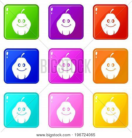 Smiling quince fruit icons of 9 color set isolated vector illustration