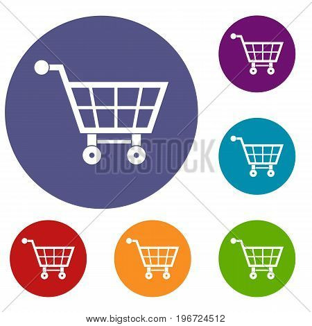 Shopping cart icons set in flat circle red, blue and green color for web