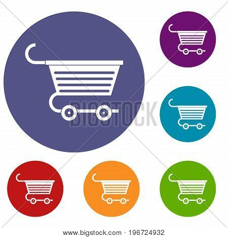 Shopping trolley icons set in flat circle red, blue and green color for web
