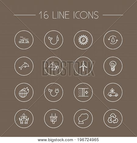 Collection Of Recycling, Solar, Garbage And Other Elements.  Set Of 16 Bio Outline Icons Set.