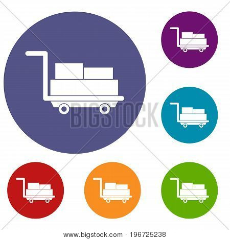 Cart with luggage icons set in flat circle red, blue and green color for web