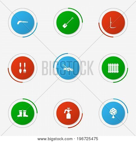 Collection Of Rubber Boots, Fence, Spray Bootle And Other Elements.  Set Of 9 Horticulture Icons Set.
