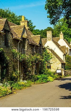 Old English Town And Beautiful Historic Buildings, Old Street, Historical Architecture