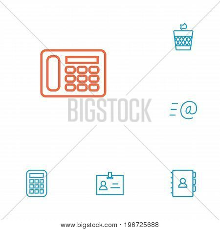 Collection Of Badge Id, Book, Calculator And Other Elements.  Set Of 6 Workspace Outline Icons Set.