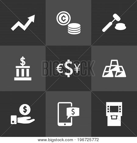 Collection Of Judge, Save Money, Ingot And Other Elements.  Set Of 9 Budget Icons Set.