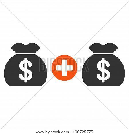 Add Money Bags vector icon. Style is flat graphic symbol.