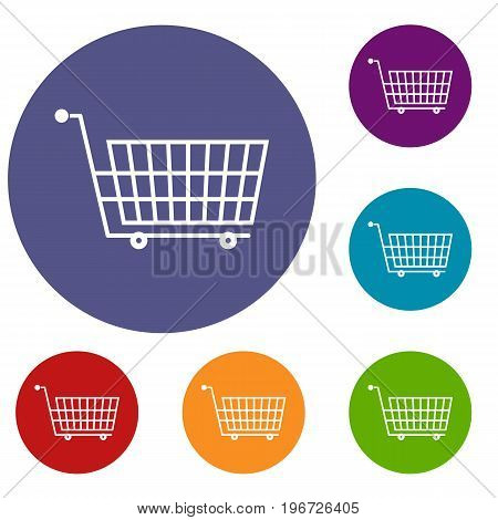Large empty supermarket cart icons set in flat circle red, blue and green color for web
