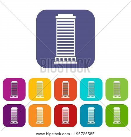 Column icons set vector illustration in flat style in colors red, blue, green, and other