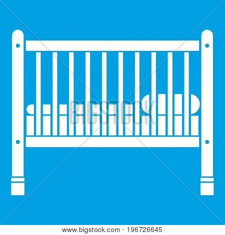 Baby bed icon white isolated on blue background vector illustration
