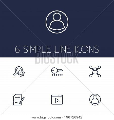 Collection Of Item Identifier, Blogging, Running Title And Other Elements.  Set Of 6 Engine Outline Icons Set.