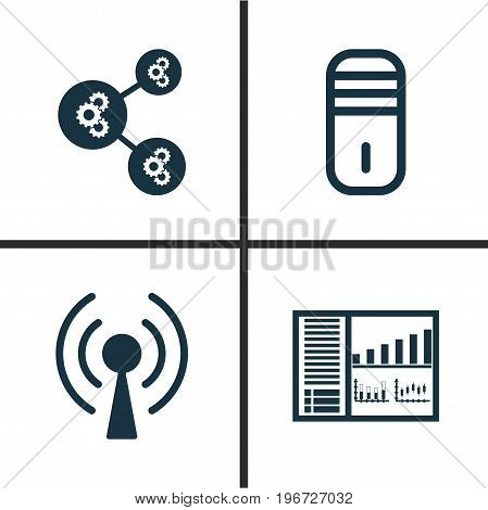 Learning Icons Set. Collection Of Radio Waves, Algorithm Illustration, Controlling Board And Other Elements